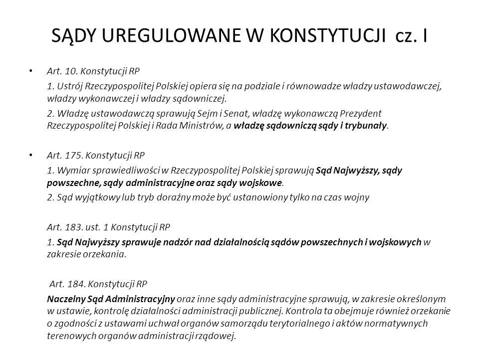 SĄDY UREGULOWANE W KONSTYTUCJI cz. I Art. 10. Konstytucji RP 1.