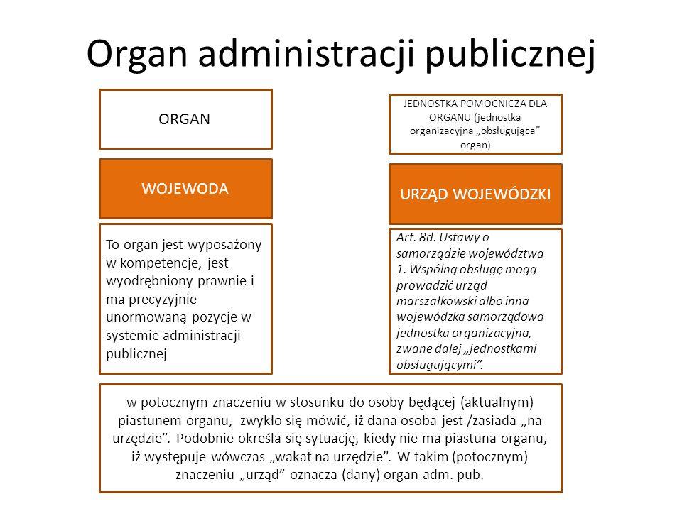 """Organ administracji publicznej WOJEWODA URZĄD WOJEWÓDZKI ORGAN JEDNOSTKA POMOCNICZA DLA ORGANU (jednostka organizacyjna """"obsługująca organ) Art."""