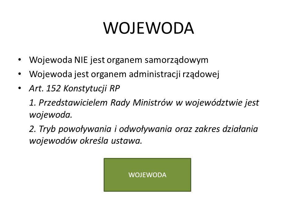 Wojewoda NIE jest organem samorządowym Wojewoda jest organem administracji rządowej Art.