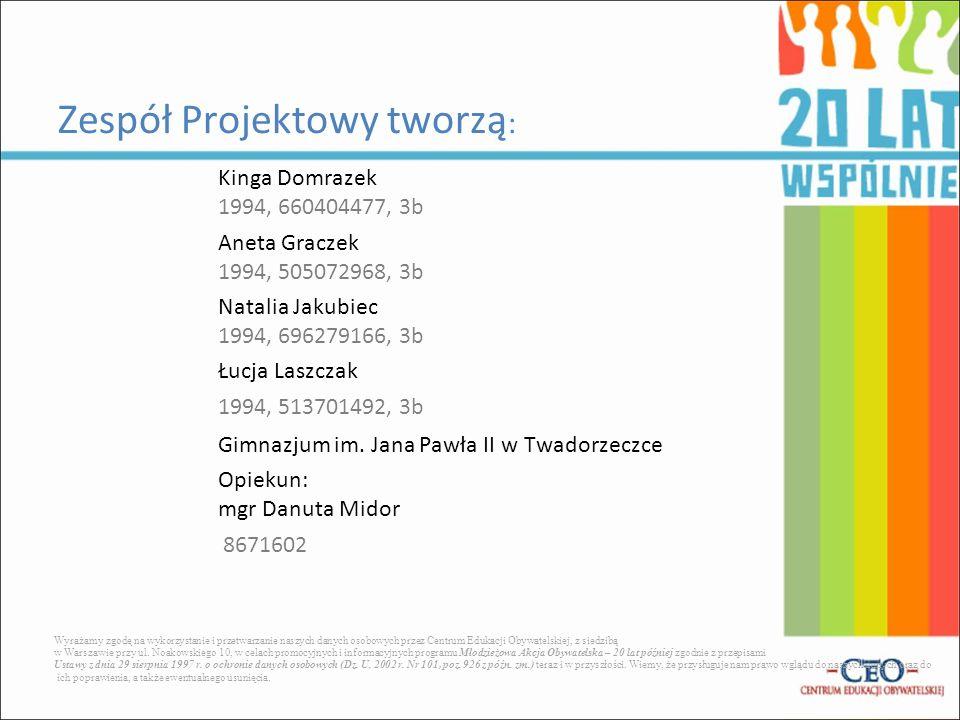 Kinga Domrazek 1994, 660404477, 3b Aneta Graczek 1994, 505072968, 3b Natalia Jakubiec 1994, 696279166, 3b Łucja Laszczak 1994, 513701492, 3b Gimnazjum im.