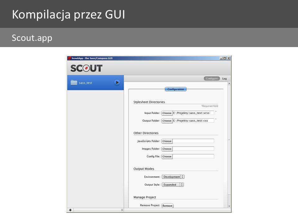 Kompilacja przez GUI Scout.app