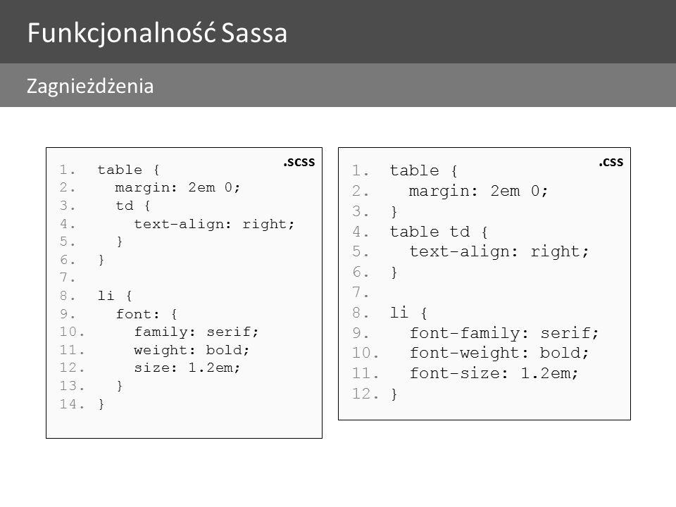 1.table { 2. margin: 2em 0; 3. td { 4. text-align: right; 5.