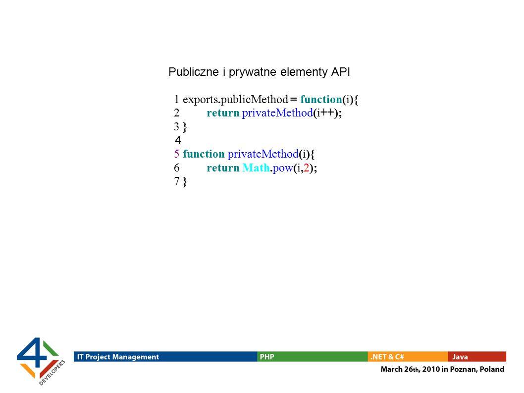 Publiczne i prywatne elementy API 1 exports.publicMethod = function(i){ 2 return privateMethod(i++); 3 } 4 5 function privateMethod(i){ 6 return Math.pow(i,2); 7 }