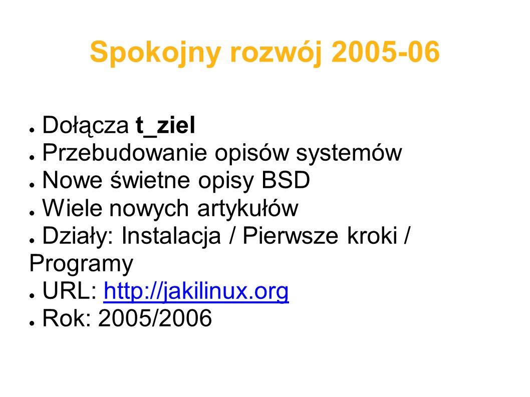 Spokojny rozwój 2005-06 ● Dołącza t_ziel ● Przebudowanie opisów systemów ● Nowe świetne opisy BSD ● Wiele nowych artykułów ● Działy: Instalacja / Pier
