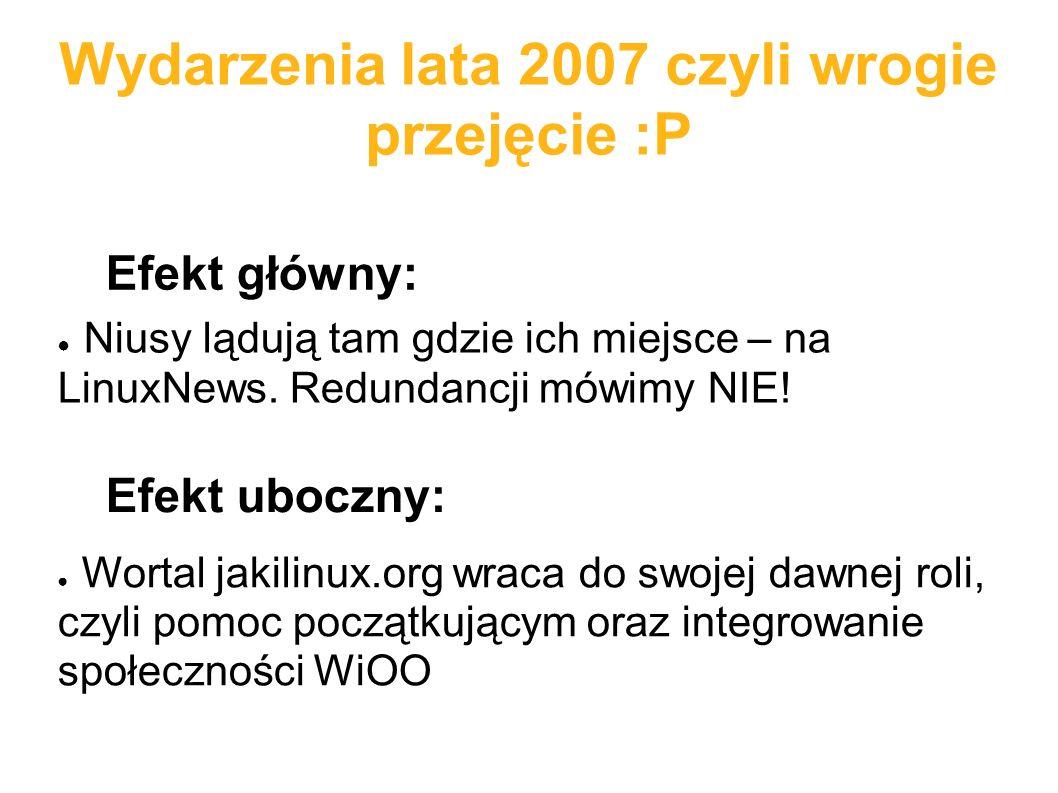 Wydarzenia lata 2007 czyli wrogie przejęcie :P ● Niusy lądują tam gdzie ich miejsce – na LinuxNews. Redundancji mówimy NIE! Efekt główny: Efekt uboczn
