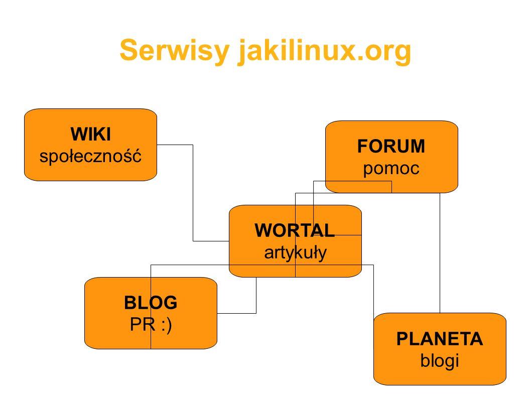 Serwisy jakilinux.org BLOG PR :) FORUM pomoc WIKI społeczność PLANETA blogi WORTAL artykuły
