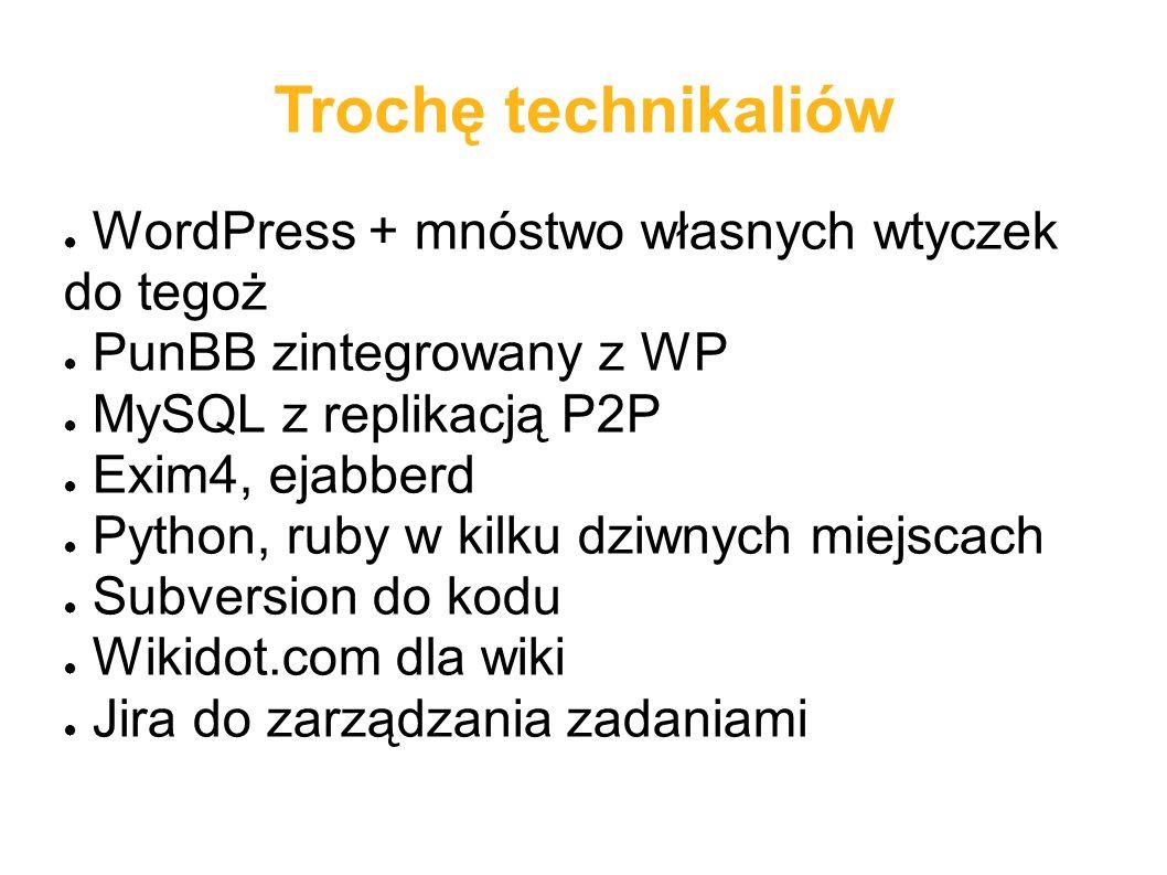 Trochę technikaliów ● WordPress + mnóstwo własnych wtyczek do tegoż ● PunBB zintegrowany z WP ● MySQL z replikacją P2P ● Exim4, ejabberd ● Python, ruby w kilku dziwnych miejscach ● Subversion do kodu ● Wikidot.com dla wiki ● Jira do zarządzania zadaniami