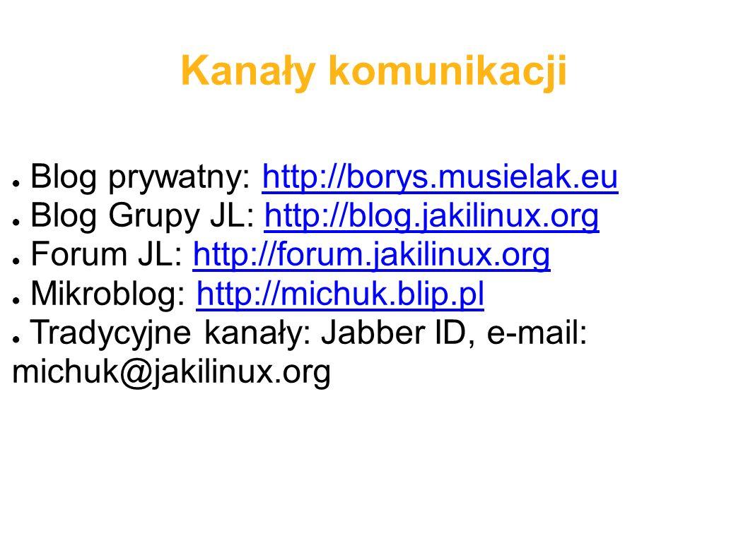 Kanały komunikacji ● Blog prywatny: http://borys.musielak.euhttp://borys.musielak.eu ● Blog Grupy JL: http://blog.jakilinux.orghttp://blog.jakilinux.o