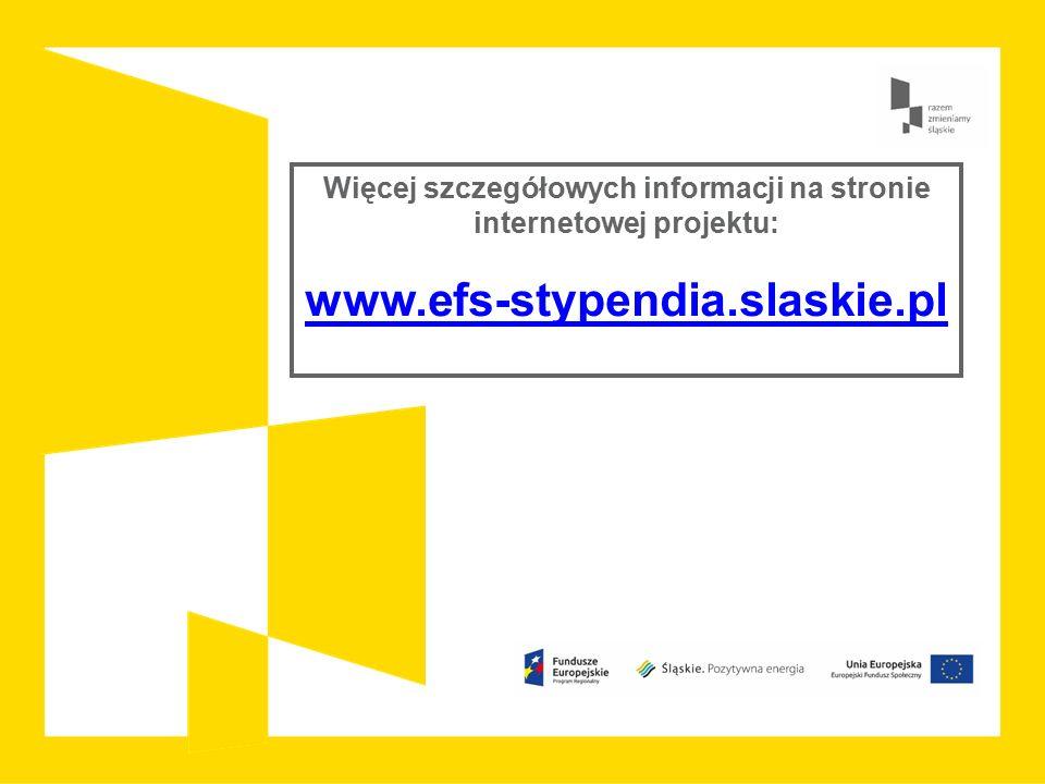 Więcej szczegółowych informacji na stronie internetowej projektu: www.efs-stypendia.slaskie.pl