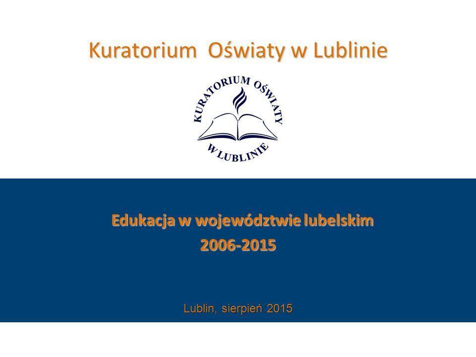 Kuratorium Oświaty w Lublinie Edukacja w województwie lubelskim Edukacja w województwie lubelskim2006-2015 Lublin, sierpień 2015