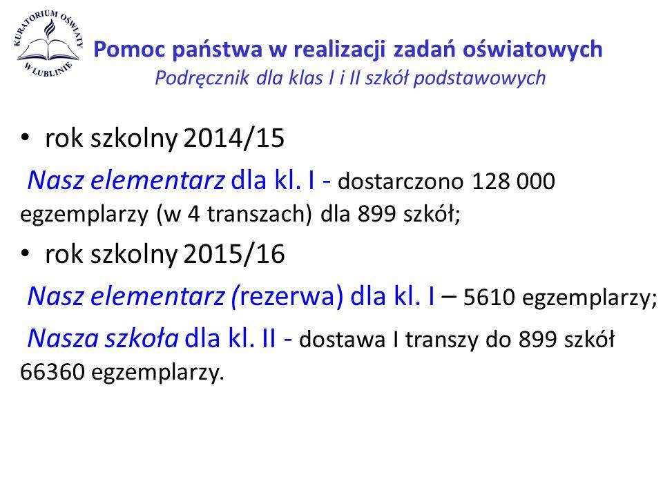 Pomoc państwa w realizacji zadań oświatowych Podręcznik dla klas I i II szkół podstawowych rok szkolny 2014/15 Nasz elementarz dla kl.