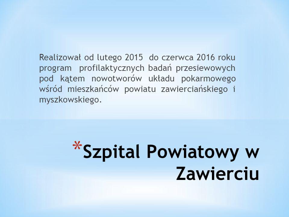 * Szpital Powiatowy w Zawierciu Realizował od lutego 2015 do czerwca 2016 roku program profilaktycznych badań przesiewowych pod kątem nowotworów układu pokarmowego wśród mieszkańców powiatu zawierciańskiego i myszkowskiego.