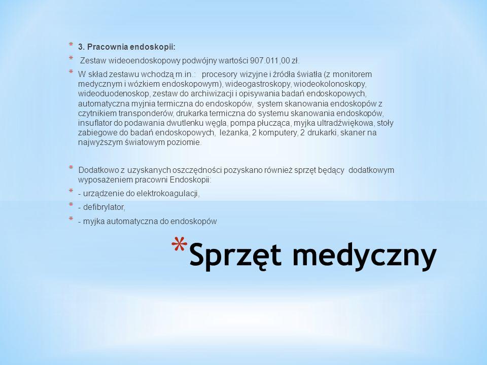 * Sprzęt medyczny * 3. Pracownia endoskopii: * Zestaw wideoendoskopowy podwójny wartości 907.011,00 zł. * W skład zestawu wchodzą m.in.: procesory wiz