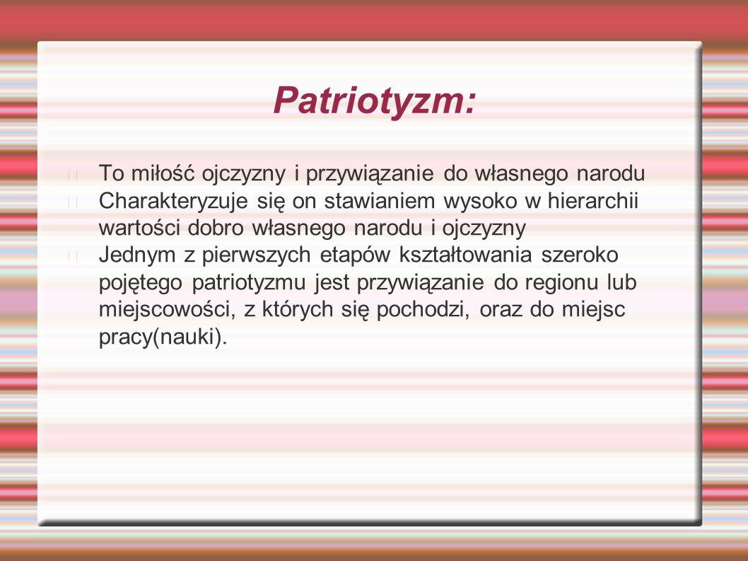 Patriotyzm: To miłość ojczyzny i przywiązanie do własnego narodu Charakteryzuje się on stawianiem wysoko w hierarchii wartości dobro własnego narodu i ojczyzny Jednym z pierwszych etapów kształtowania szeroko pojętego patriotyzmu jest przywiązanie do regionu lub miejscowości, z których się pochodzi, oraz do miejsc pracy(nauki).