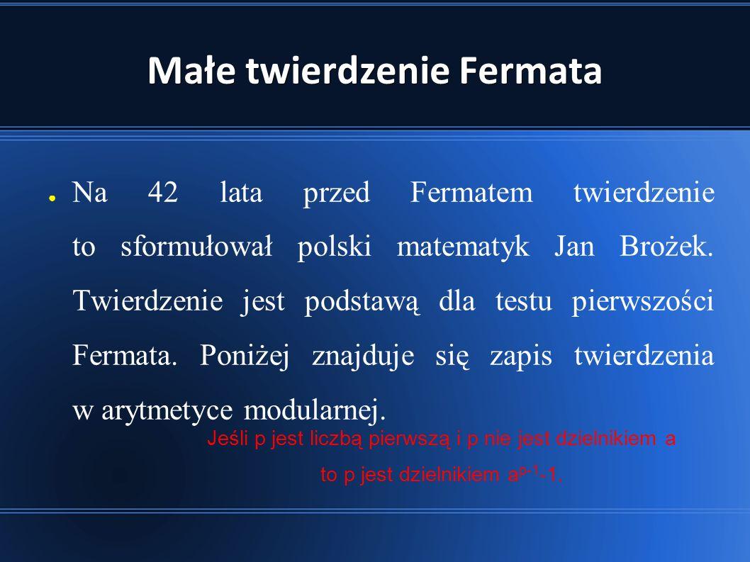 Małe twierdzenie Fermata ● Na 42 lata przed Fermatem twierdzenie to sformułował polski matematyk Jan Brożek.