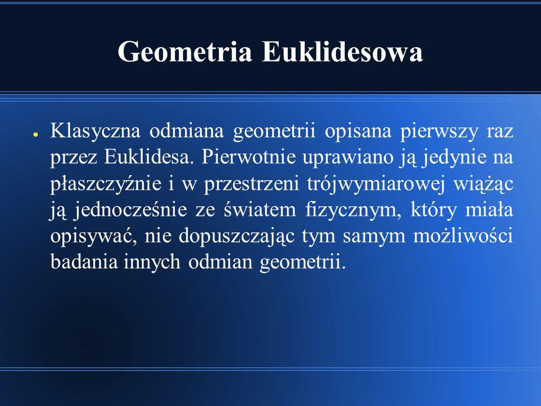 Przestrzeń Euklidesowa ● Jednowymiarowa przestrzeń nazywana jest prostą euklidesową, zaś dwuwymiarowa – płaszczyzną euklidesową.
