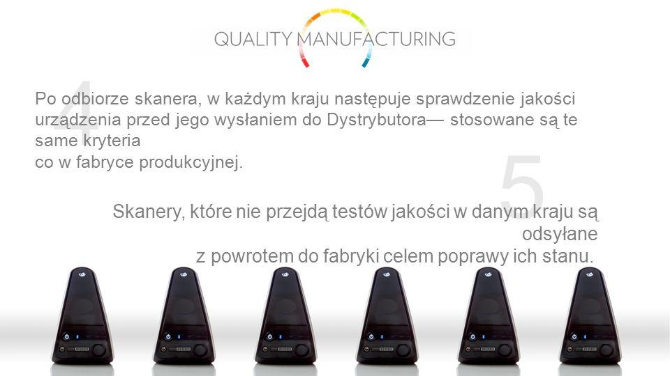 5 4 Po odbiorze skanera, w każdym kraju następuje sprawdzenie jakości urządzenia przed jego wysłaniem do Dystrybutora— stosowane są te same kryteria c