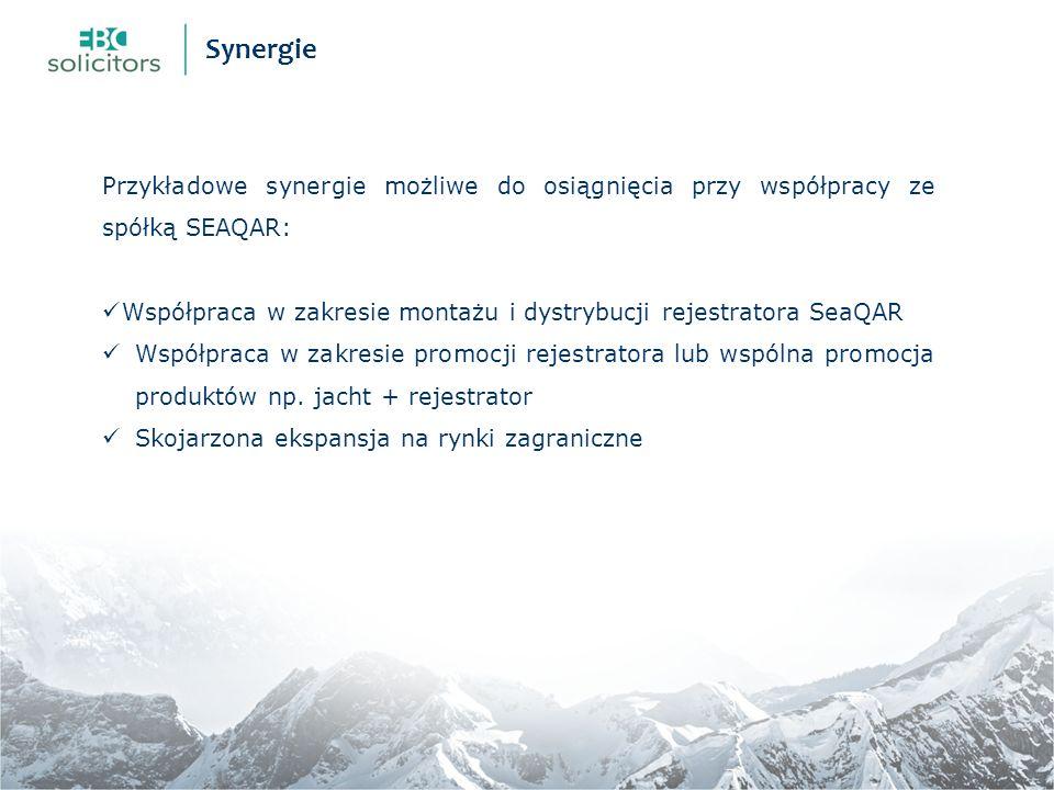 Przykładowe synergie możliwe do osiągnięcia przy współpracy ze spółką SEAQAR: Współpraca w zakresie montażu i dystrybucji rejestratora SeaQAR Współpraca w zakresie promocji rejestratora lub wspólna promocja produktów np.