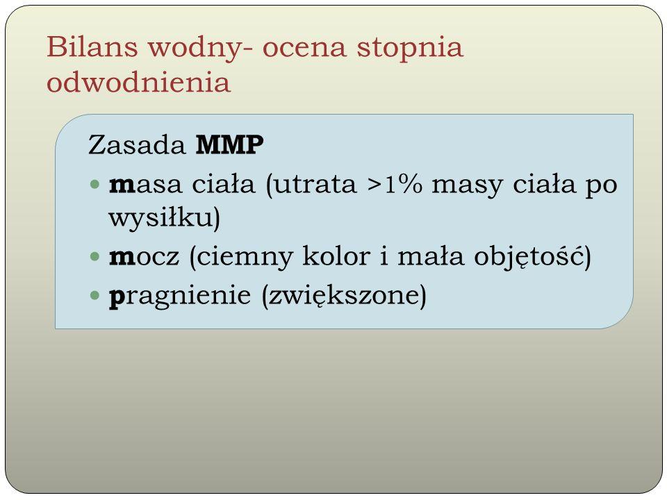 Bilans wodny- ocena stopnia odwodnienia Zasada MMP m asa ciała (utrata > 1 % masy ciała po wysiłku) m ocz (ciemny kolor i mała objętość) p ragnienie (