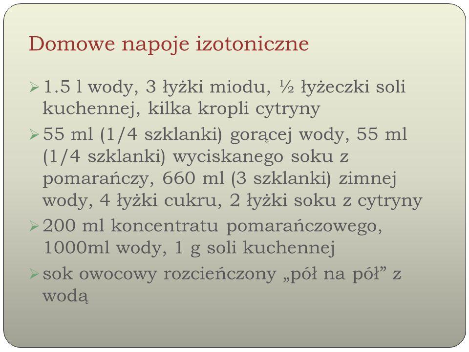 Domowe napoje izotoniczne  1.5 l wody, 3 łyżki miodu, ½ łyżeczki soli kuchennej, kilka kropli cytryny  55 ml (1/4 szklanki) gorącej wody, 55 ml (1/4