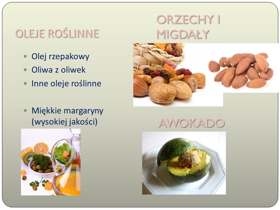OLEJE ROŚLINNE Olej rzepakowy Oliwa z oliwek Inne oleje roślinne Miękkie margaryny (wysokiej jakości) ORZECHY I MIGDAŁY AWOKADO