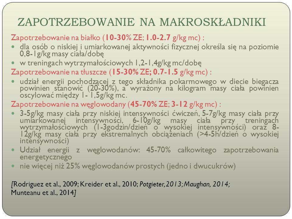 ZAPOTRZEBOWANIE NA MAKROSKŁADNIKI Zapotrzebowanie na białko (10-30% ZE; 1.0-2.7 g/kg mc) : dla osób o niskiej i umiarkowanej aktywności fizycznej okre