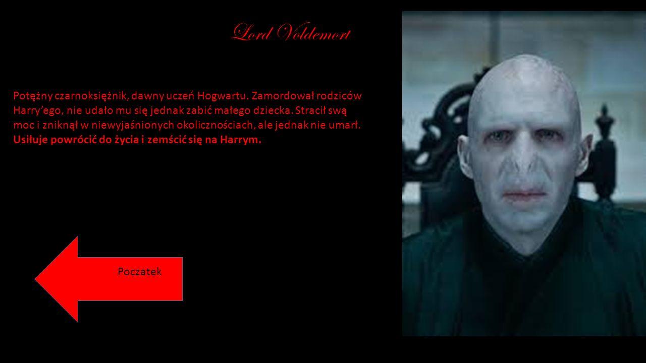 Lord Voldemort Potężny czarnoksiężnik, dawny uczeń Hogwartu. Zamordował rodziców Harry'ego, nie udało mu się jednak zabić małego dziecka. Stracił swą