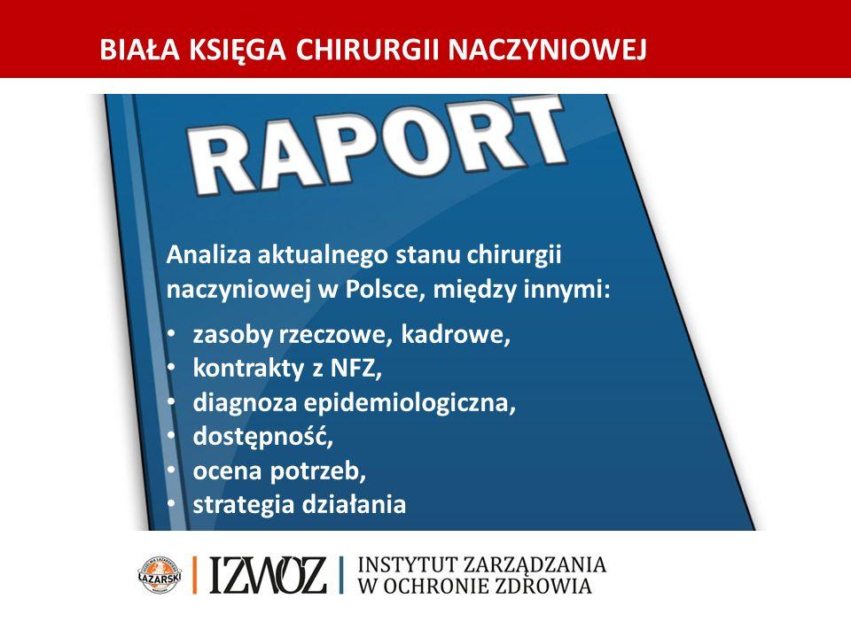 BIAŁA KSIĘGA CHIRURGII NACZYNIOWEJ Analiza aktualnego stanu chirurgii naczyniowej w Polsce, między innymi: zasoby rzeczowe, kadrowe, kontrakty z NFZ, diagnoza epidemiologiczna, dostępność, ocena potrzeb, strategia działania