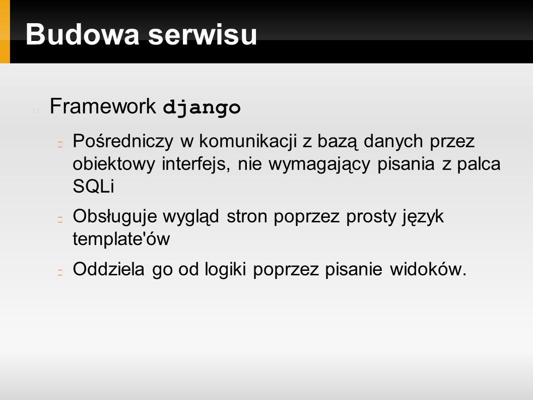 Budowa serwisu Framework django Pośredniczy w komunikacji z bazą danych przez obiektowy interfejs, nie wymagający pisania z palca SQLi Obsługuje wygląd stron poprzez prosty język template ów Oddziela go od logiki poprzez pisanie widoków.