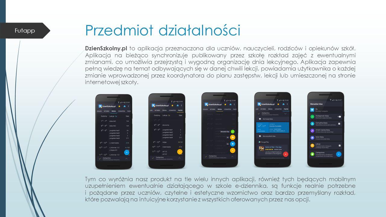 Przedmiot działalności DzienSzkolny.pl to aplikacja przeznaczona dla uczniów, nauczycieli, rodziców i opiekunów szkół.