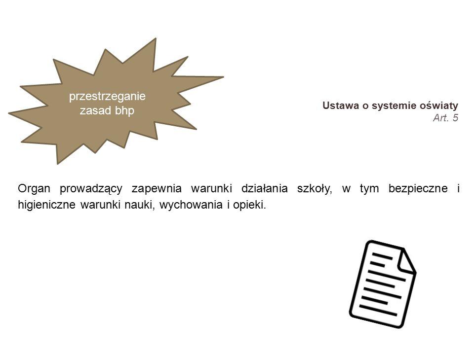 reakcja w sytuacjach nietypowych, nadzwyczajnych przestrzeganie zasad bhp Ustawa o systemie oświaty Art.