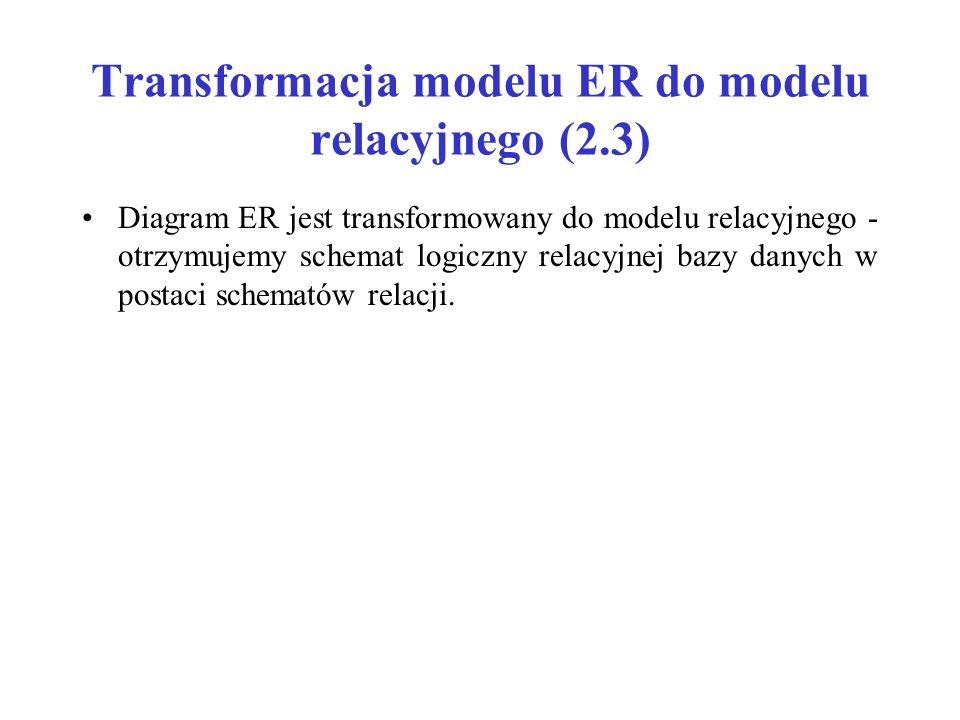 Transformacja modelu ER do modelu relacyjnego (2.3) Diagram ER jest transformowany do modelu relacyjnego - otrzymujemy schemat logiczny relacyjnej bazy danych w postaci schematów relacji.