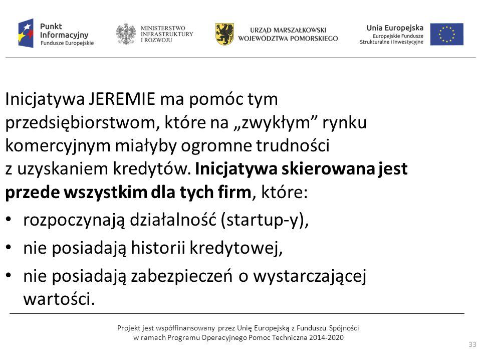 """Projekt jest współfinansowany przez Unię Europejską z Funduszu Spójności w ramach Programu Operacyjnego Pomoc Techniczna 2014-2020 Inicjatywa JEREMIE ma pomóc tym przedsiębiorstwom, które na """"zwykłym rynku komercyjnym miałyby ogromne trudności z uzyskaniem kredytów."""