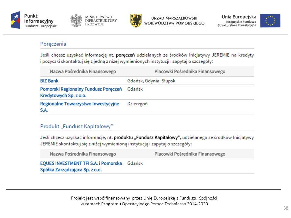 Projekt jest współfinansowany przez Unię Europejską z Funduszu Spójności w ramach Programu Operacyjnego Pomoc Techniczna 2014-2020 38