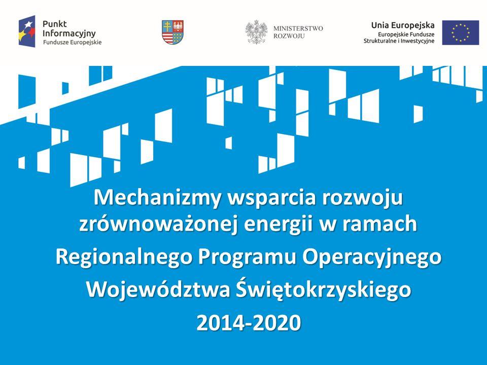 Mechanizmy wsparcia rozwoju zrównoważonej energii w ramach Regionalnego Programu Operacyjnego Województwa Świętokrzyskiego 2014-2020