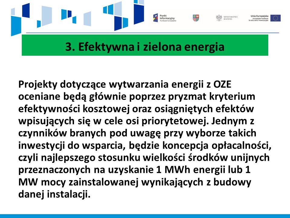 3. Efektywna i zielona energia Projekty dotyczące wytwarzania energii z OZE oceniane będą głównie poprzez pryzmat kryterium efektywności kosztowej ora