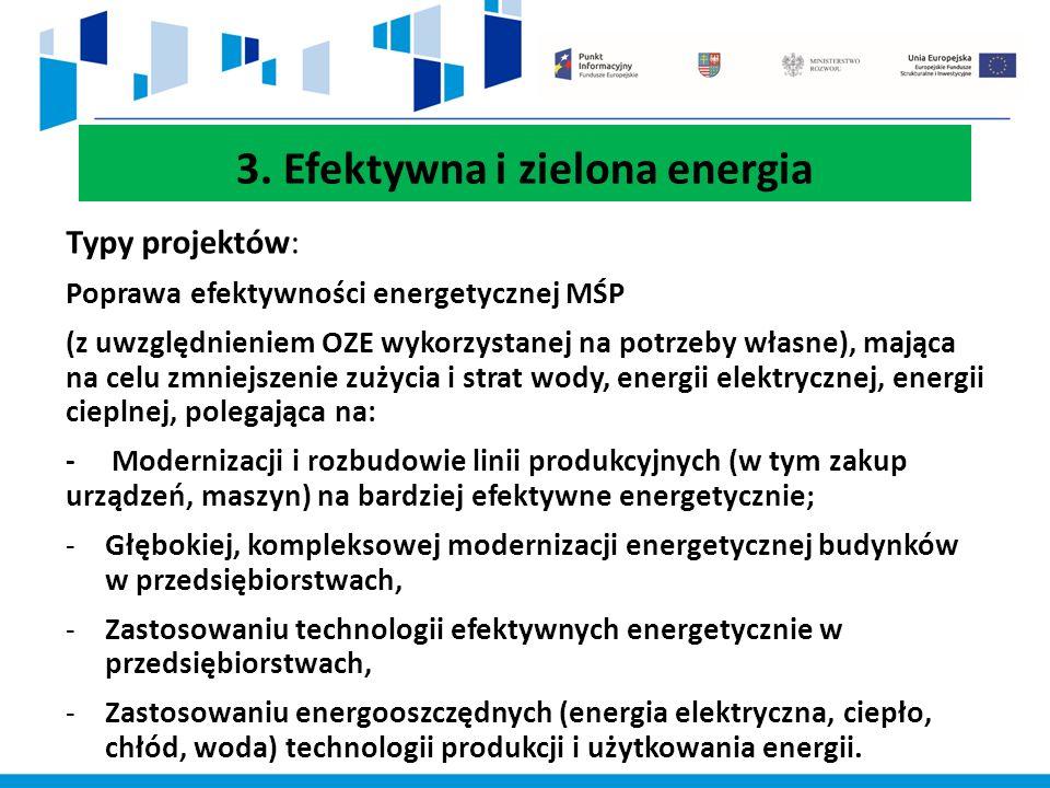 3. Efektywna i zielona energia Typy projektów: Poprawa efektywności energetycznej MŚP (z uwzględnieniem OZE wykorzystanej na potrzeby własne), mająca