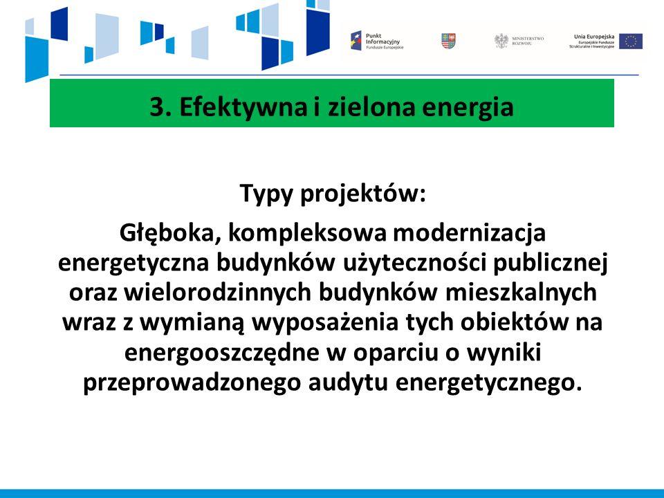 3. Efektywna i zielona energia Typy projektów: Głęboka, kompleksowa modernizacja energetyczna budynków użyteczności publicznej oraz wielorodzinnych bu