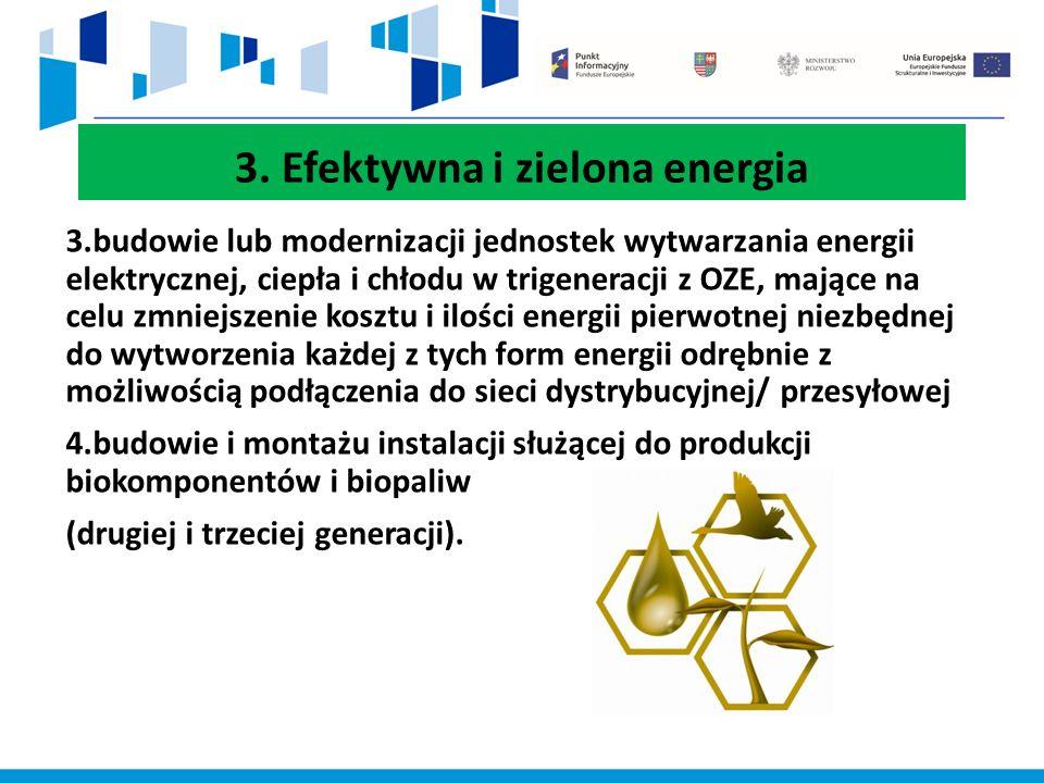 3. Efektywna i zielona energia 3.budowie lub modernizacji jednostek wytwarzania energii elektrycznej, ciepła i chłodu w trigeneracji z OZE, mające na
