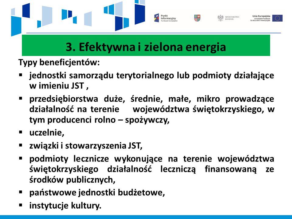 3. Efektywna i zielona energia Typy beneficjentów:  jednostki samorządu terytorialnego lub podmioty działające w imieniu JST,  przedsiębiorstwa duże