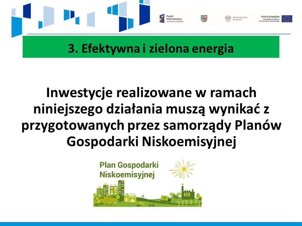 3. Efektywna i zielona energia Inwestycje realizowane w ramach niniejszego działania muszą wynikać z przygotowanych przez samorządy Planów Gospodarki