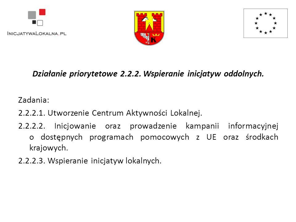 Działanie priorytetowe 2.2.2. Wspieranie inicjatyw oddolnych.