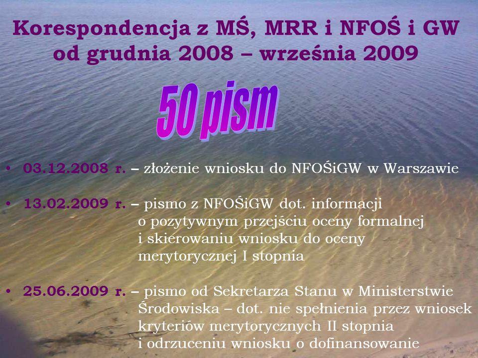 Korespondencja z MŚ, MRR i NFOŚ i GW od grudnia 2008 – września 2009 03.12.2008 r. – złożenie wniosku do NFOŚiGW w Warszawie 13.02.2009 r. – pismo z N