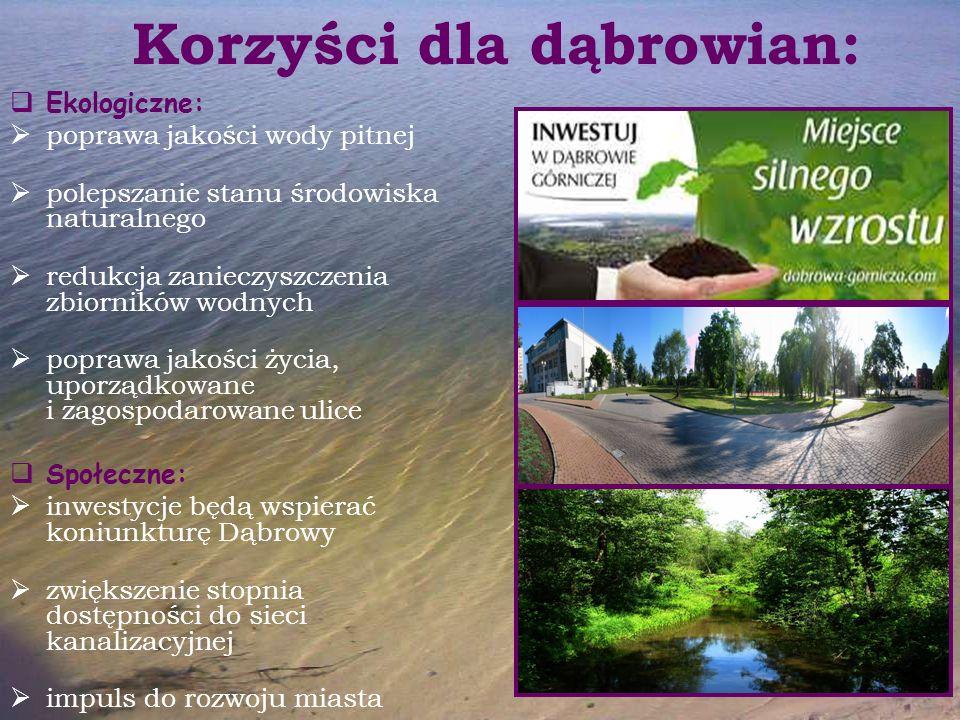 Korzyści dla dąbrowian:  Ekologiczne:  poprawa jakości wody pitnej  polepszanie stanu środowiska naturalnego  redukcja zanieczyszczenia zbiorników
