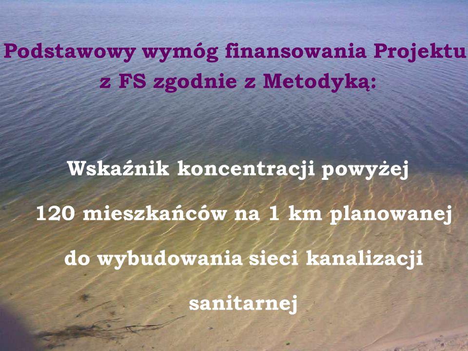 Podstawowy wymóg finansowania Projektu z FS zgodnie z Metodyką: Wskaźnik koncentracji powyżej 120 mieszkańców na 1 km planowanej do wybudowania sieci
