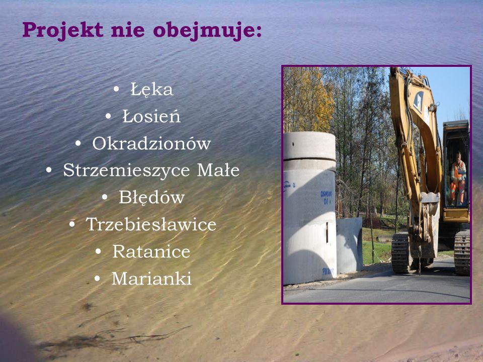 Projekt nie obejmuje: Łęka Łosień Okradzionów Strzemieszyce Małe Błędów Trzebiesławice Ratanice Marianki