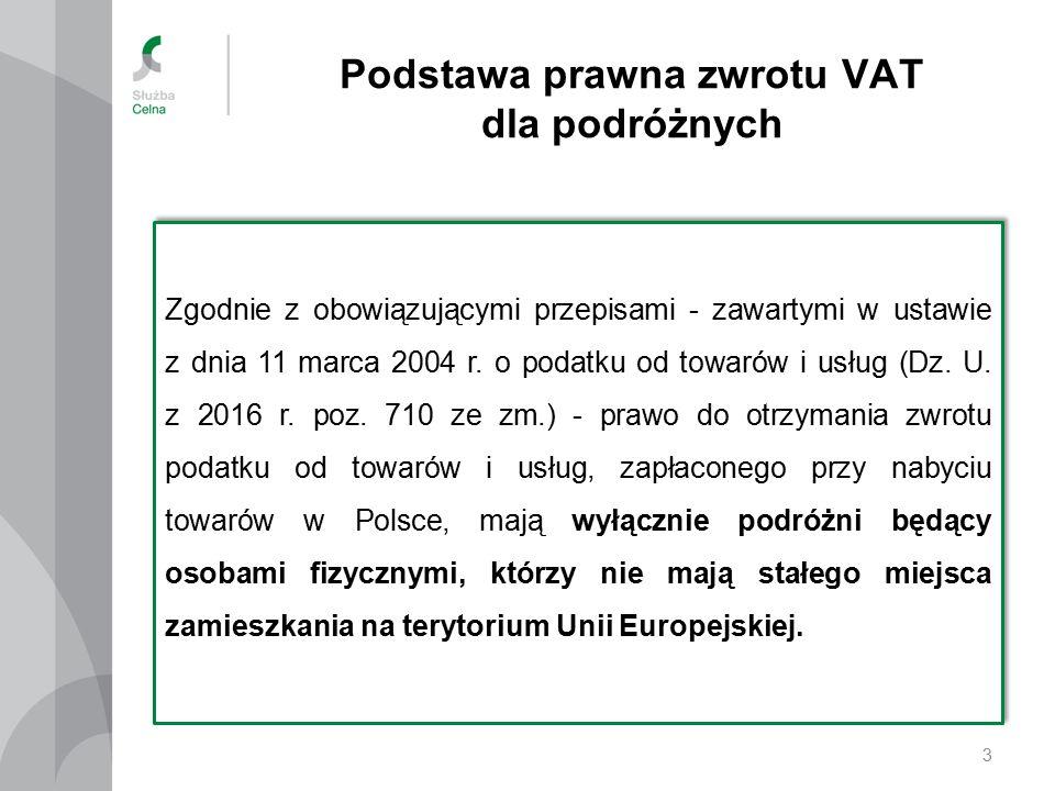 Podstawa prawna zwrotu VAT dla podróżnych 3 Zgodnie z obowiązującymi przepisami - zawartymi w ustawie z dnia 11 marca 2004 r.