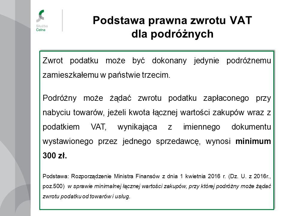 Podstawa prawna zwrotu VAT dla podróżnych 4 Zwrot podatku może być dokonany jedynie podróżnemu zamieszkałemu w państwie trzecim.