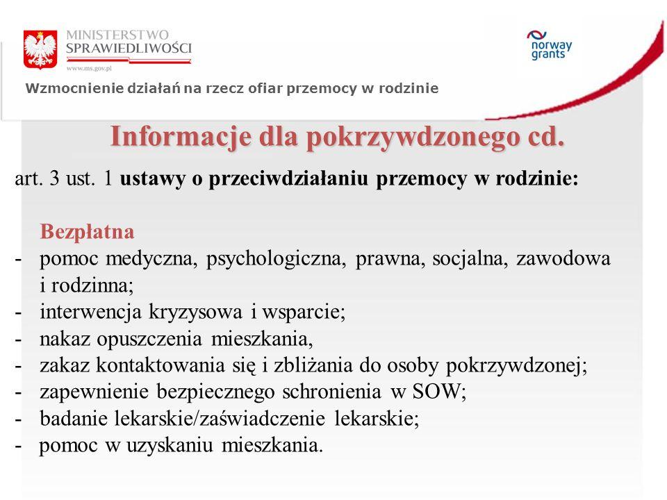 Wzmocnienie działań na rzecz ofiar przemocy w rodzinie Informacje dla pokrzywdzonego cd.