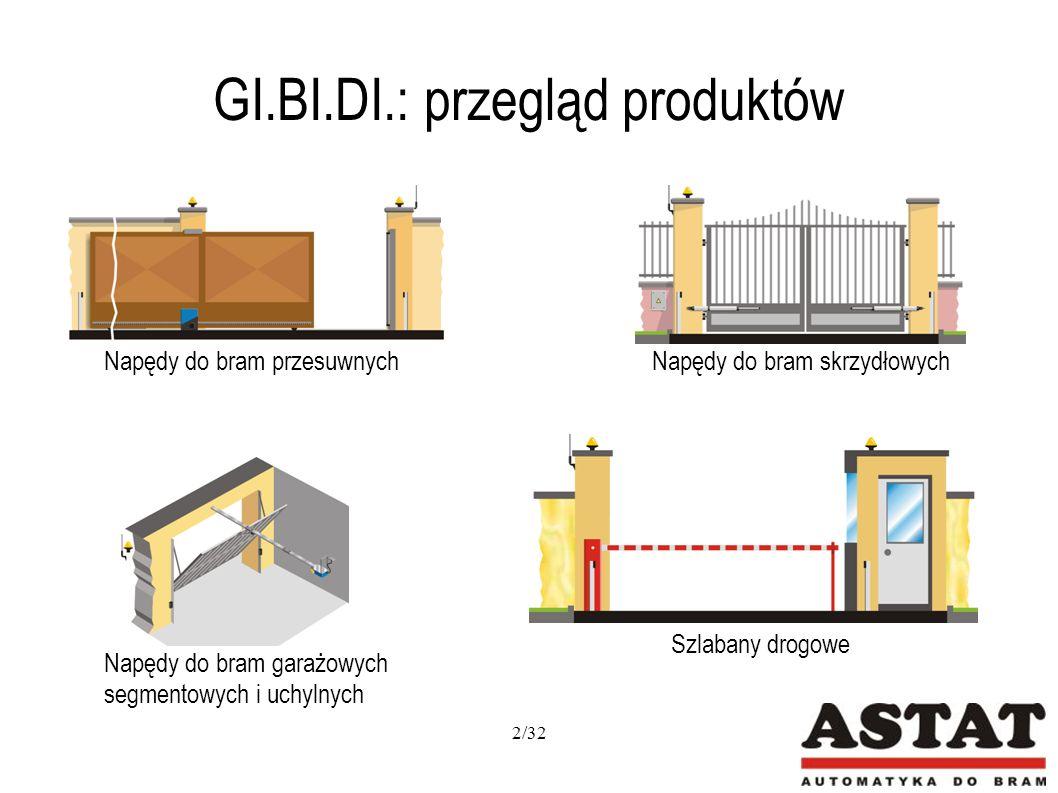 GI.BI.DI.: BL 240 Wyposażony w blokadę elektromechaniczną, która zapewnia zamknięcie bramy nawet bez elektrozamka (dla skrzydeł do 2,5m) Wyłączniki krańcowe umożliwiają szybką i prostą nastawę kąta otwarcia bramy Solidna obudowa oraz wykonanie napędu z wysokiej jakości materiałów, sprawia, że napęd jest wyjątkowo wytrzymały i cichy Możliwość awaryjnego odblokowania Możliwość zastosowania elektrozamka i akumulatorów Zasilanie: 24V DC Zastosowanie: bramy o długości jednego skrzydła do 3,5m i wysokiej częstotliwości używania BA 24 Zasilanie główne: 230V AC Zasilanie silnika: 24V DC Funkcja furtki Regulacja siły Soft Stop i Soft Start Funkcja antyzgnieceniowa Liczba wejść fotokomórek - 2 Programowanie za pomocą wyświetlacza 13/32